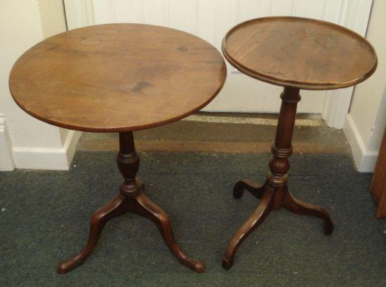 A George III mahogany tea table, the circular tilt-top, on a vase turned pillar and tripod base, 59cm, and a George III mahogany pedestal table, with circular tray top on a ring turned pillar and tripod base, 43cm. (2)