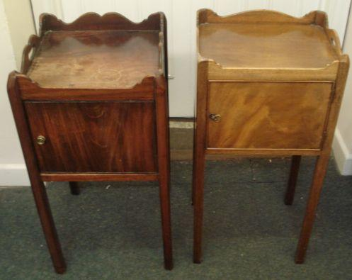 Two George III style mahogany tray top pot cupboards, with cut out carrying handles, each enclosed by a door, on square legs, 40cm & 39cm respectively.