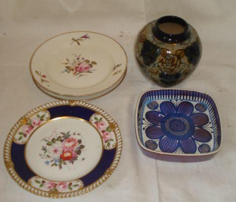 Three Chamberlains Worcester dessert plates, painted with sprays of flowers with scale gilt borders, 21.5cm diameter, another dessert plate painted with flowers with blue and gilt borders, Doulton stoneware globular vase, and a Copenhagen dish. (6)