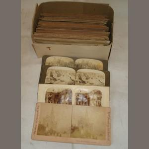 A collection of 19th and early 20th Century steroscopic slides, including British Abbeys, New York, California views, Niagara Falls, Navy, warships and humour.
