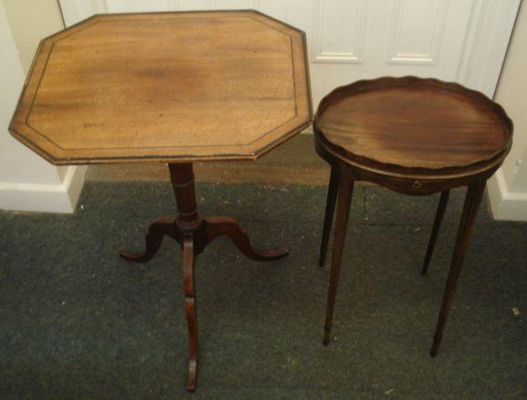 A George III mahogany pedestal table, the ebony strung octagonal tilt-top, on a turned pillar and tripod base, 51cm, and a George III style mahogany oval urn stand, with gallery, slide and slender square tapered legs, 37cm. (2)