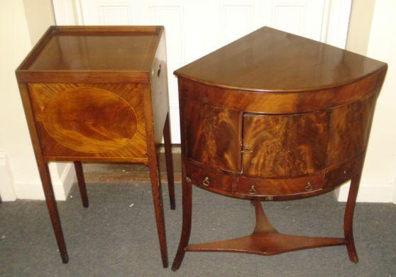 A George III mahogany night stand, with tray top, the up and over door boxwood strung centred by an oval, on square tapered legs, 41cm, and a similar period bowfronted corner washstand, with rising top incorporating a splash-back, cupboard and drawer below, on spayed legs, 66cm. (2)