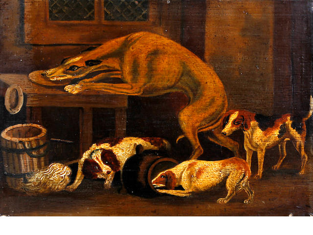 English Primitive School, early/mid-19th century Dogs at play while the master's away