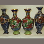 Two pairs of early 20th century cloisonne vases