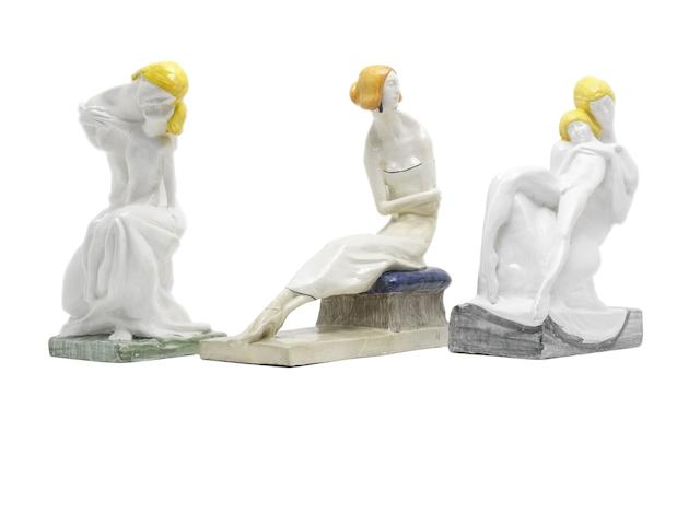 Enrico Mazzolani  Three Figural Ceramic Sculptures, circa 1920