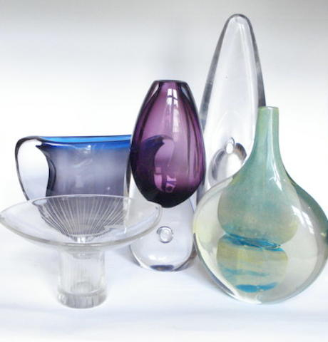 Continental a Selection of Post War Glass Vases, 20th Century