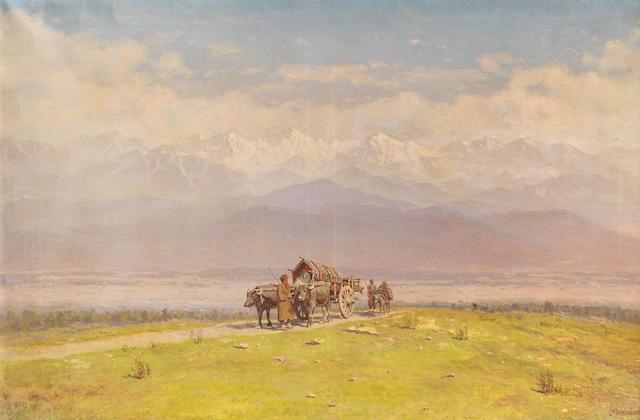 Il'ia Nikolaevich Zankovskii (Russian, 1832-1919) 'Kakheti; Alozanskaya Valley'