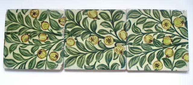 William De Morgan a Run of Three Tiles with Fruit, circa 1890