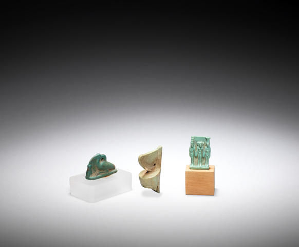 Three Egyptian glazed composition amulets 3