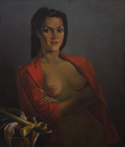 Vladimir Griegorovich Tretchikoff (South African, 1913-2006) Portrait of Lenka (Red Jacket)