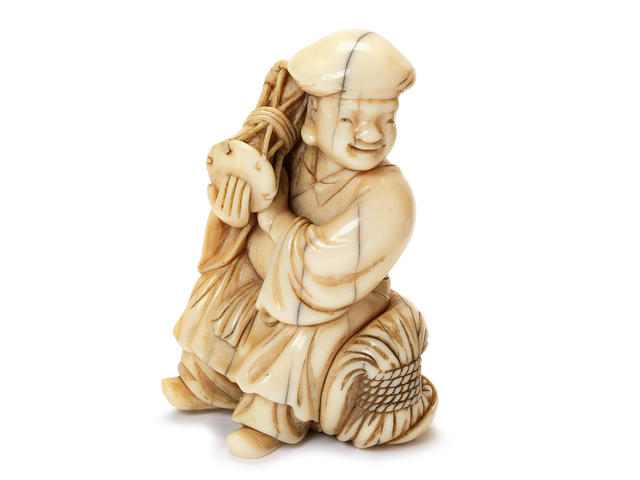 A very rare ivory netsuke of Daikoku By Masanao, Kyoto, late 18th century