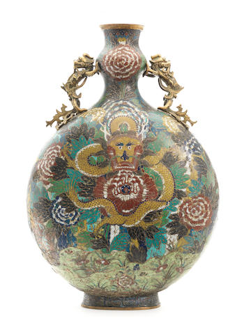 A large cloisonné enamel moonflask, bianhu 18th century