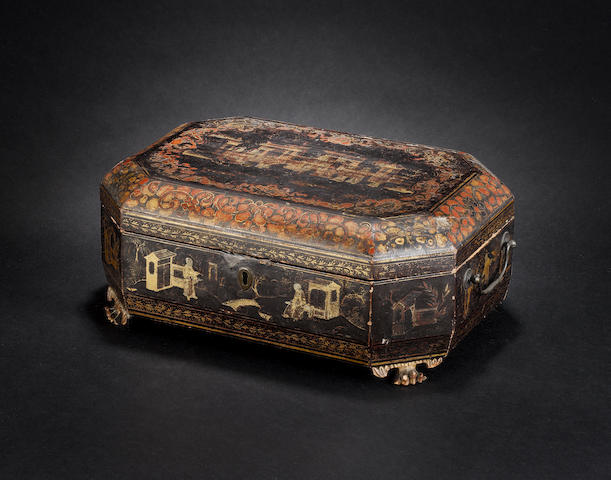 A lacquer games box or sewing compendium 19th century