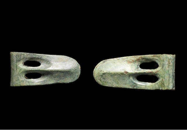 Two Ancient Near Eastern near eastern bronze duckbill axe heads  2