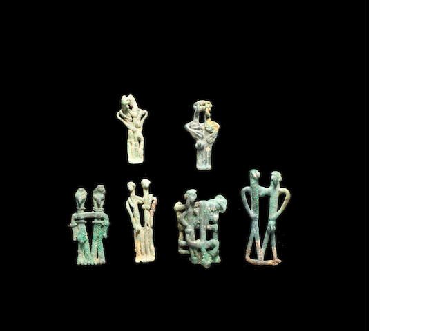 Six Syro-Phoenician bronze figurative groups