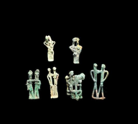 Six Syro-Phoenician bronze figurative groups