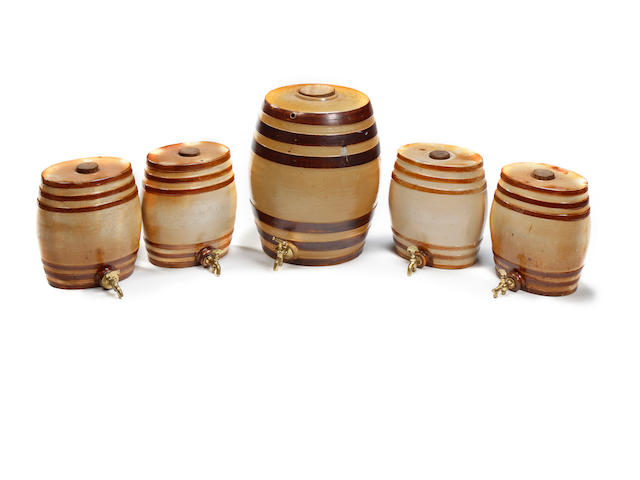 A set of four Doulton & Watts stoneware spirit barrels, first half of the 19th century