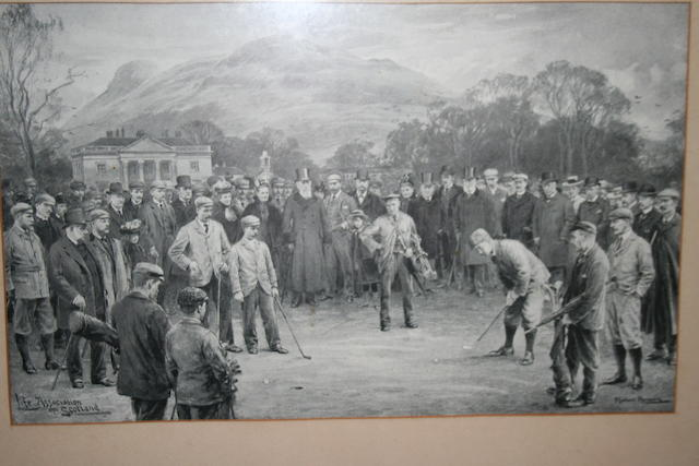 After J Michael Brown: Match at Duddingston 26 March 1898 Featuring a match between F.G. Tait and L.M Balfour-Melville versus B. Sayers and W. Auchterlonie. Clean image with a mount and old glazed frame.  9¼ x 15 inches