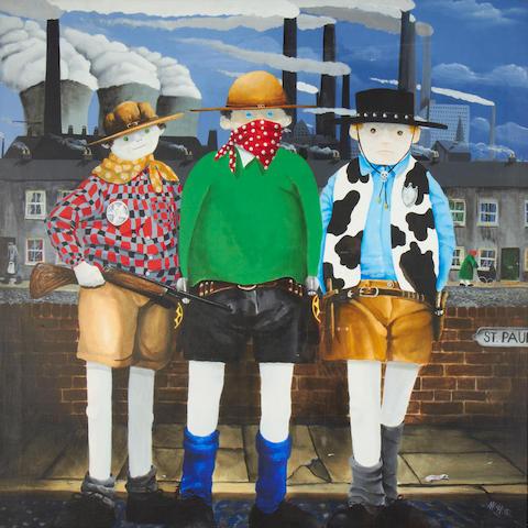 Mackenzie Thorpe (British, born 1956) Three cowboys