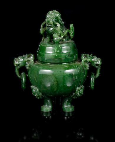 A green jade incense burner and cover with Buddhistic Lion finial