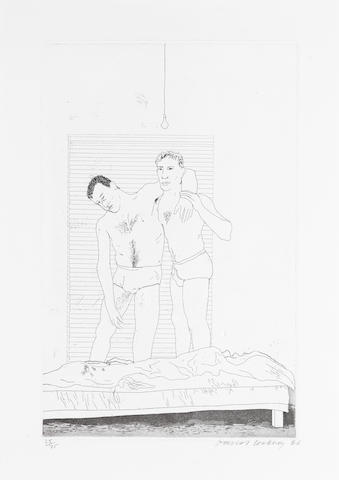 David Hockney R.A. (British, born 1937) One Night, from Illustrations for Fourteen Poems from C.P. Cavafy Etching and aquatint, 1966, on Crisbrook handmade paper, signed, dated and numbered 35/75 in pencil, printed at Alecto Studios, published by Editions Alecto, 360 x 230mm (14 1/8 x 9in)(PL)