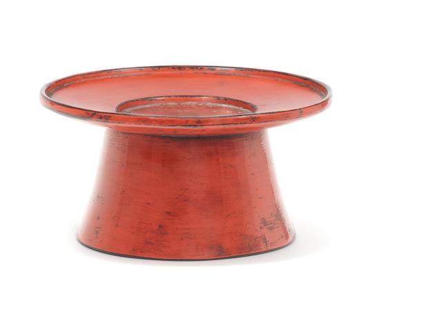 A Negoro lacquer stand for a sakazuki (sake cup) Momoyama Period