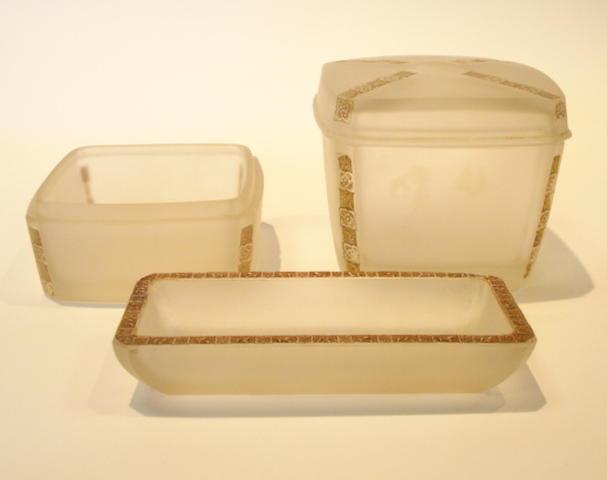 René Lalique 'Fleurettes' a Three-piece Toilet Set, design 1919