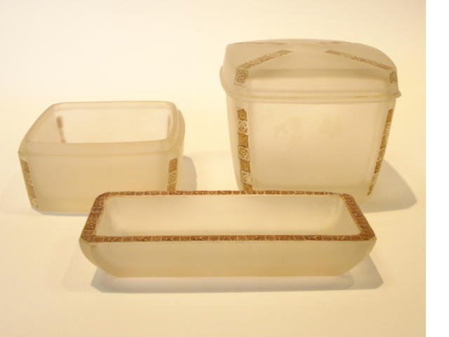 René Lalique 'Fleurettes' a Three-piece Toilet Set, design 1919
