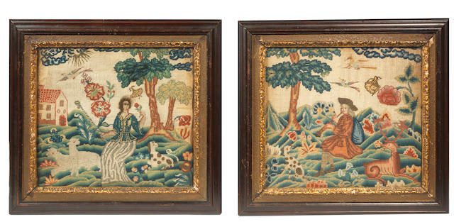 A pair of early 18th century needlework pictures