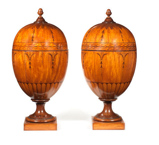 A pair of George III satinwood and marquetry knife urns