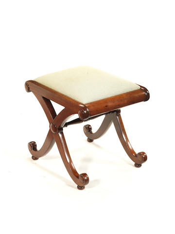 A Regency mahogany stool, based on a design by Thomas Hope