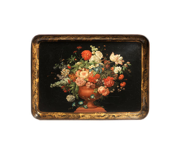 A Regency papier mache tray with painted floral decoration