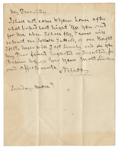 "NELSON (HORATIO) Autograph letter signed (""Nelson""), to Emma Hamilton (""My Dear Lady""), VOWING TO DEFEND HER HONOUR, DURING THE BREAKUP OF HIS MARRIAGE, [1801]"