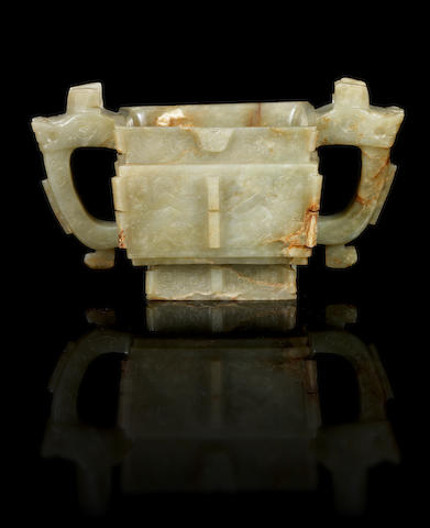 A jade squared incense burner, fang gui Qing Dynasty or later