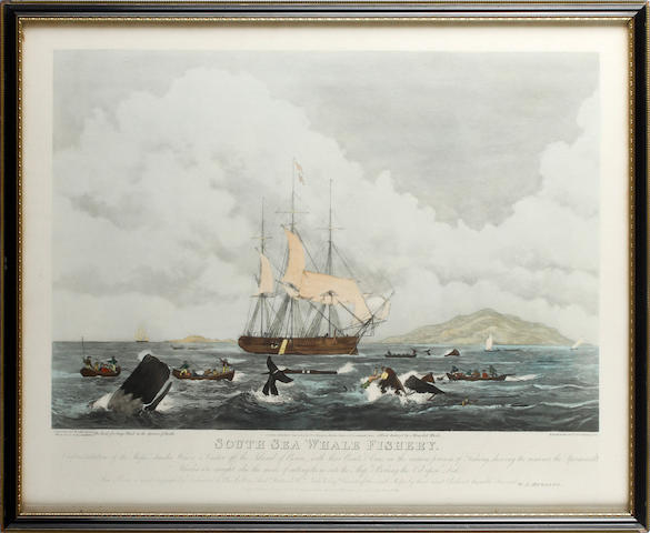Thomas Sutherland (British,active mid-nineteenth century) South Sea Whale Fishery Hand-coloured aquatint, 1825, on wove, published by WJ Higgins, 440 x 555mm (17 1/4 x 21 7/8in)(PL)