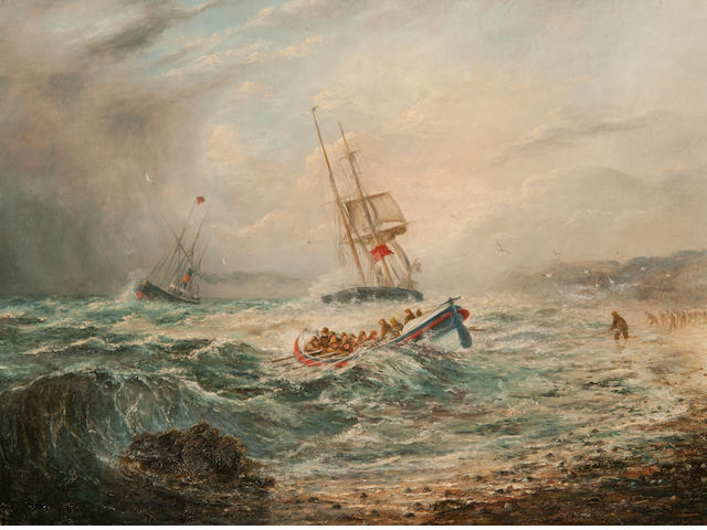 George Vempley Burwood (British, 1844-1917) Lifeboat rescue Lifeboat rescue