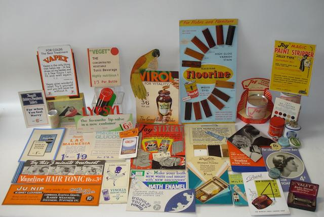 A lot of shop advertising and display cards,