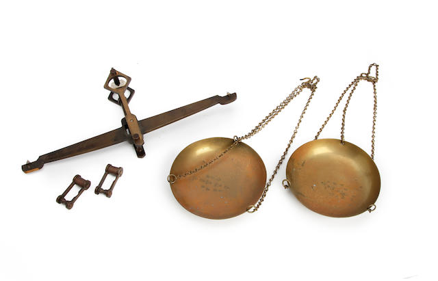 A late Victorian brass and agate 7lb part beamscale assembly, for the County Borough of Barrow-in-Furnessby Doyle & Son, London