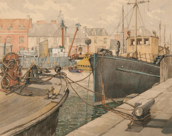 Julian Leathart (20th Century) Lowestoft Harbour