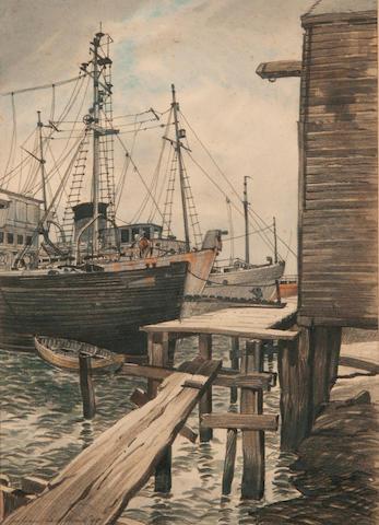 Julian Leathart (20th Century) Boats in Lowestoft harbour Boats in Lowestoft harbour