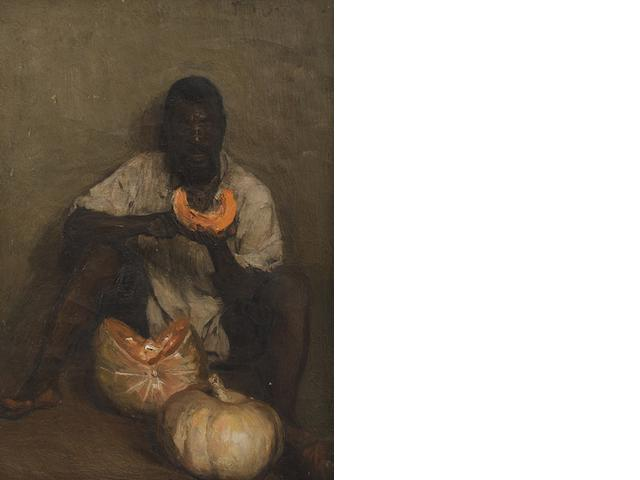 Frans David Oerder (South African, 1867-1944) 'Pampoene Afskil' (Peeling Pumpkins)