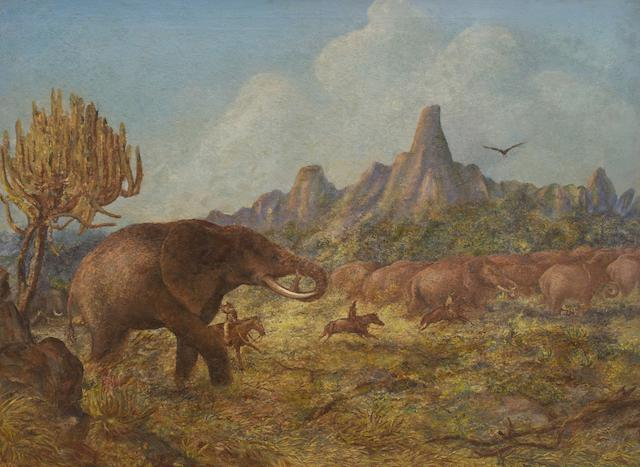 Thomas Baines (South African, 1820-1875) 'Elephant hunting near Mangwe River, Matabililand'