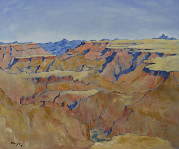 Francois Krige (South African, 1913-1994) Fish River Canyon, Namibia unframed