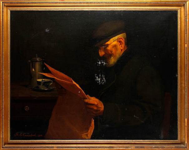 Richard G. Crawford (British, born 1870) An old man reading the paper