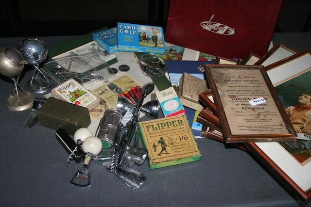 A collection of golfing memorabilia