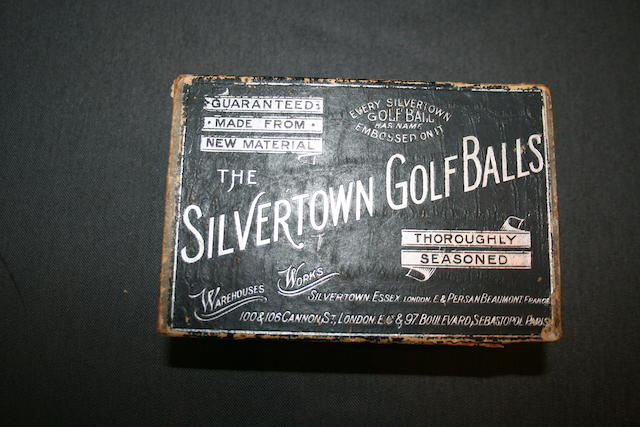 An empty Silvertown six box in black and silver circa 1880s