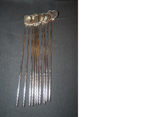 Marshall Silver Company: a set of 10 American silver cocktail sticks