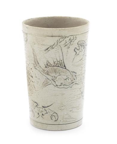 Martin Brothers a Beaker with Fish and a Portrait Plaque, late Eighteenth/Early Twentieth Century