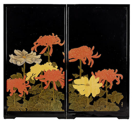 A black lacquer two-fold screen By Kunio, Showa Period