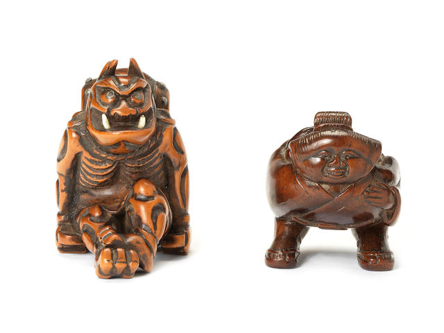Two wood netsuke of Raiden and Okame Early 19th century